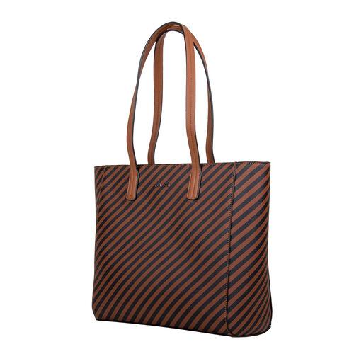 Bulaggi Collection - Sissy Stripe Pattern Shopping Bag (Size 33x30x10cm) - Rust
