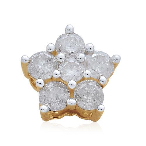 9K Yellow Gold 0.50 Carat Diamond Floral Pendant SGL Certified (I3/G-H)