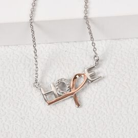Diamond HOPE Necklace (Size 18) in Rose Gold and Platinum Overlay Sterling Silver