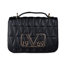 19V69 ITALIA by Alessandro Versace Quilted Pattern Crossbody Bag with Detachable Chain Strap (Size 22x14x8Cm) - Black