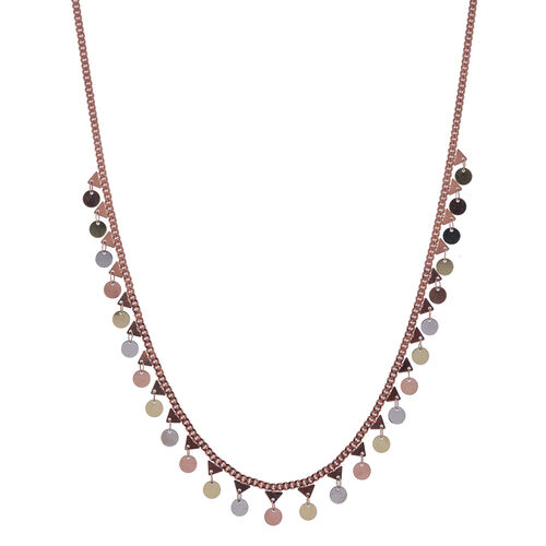 Three Tone Overlay Sterling Silver Necklace (Size 16.5 with 2 inch Extender), Silver wt 7.88 Gms