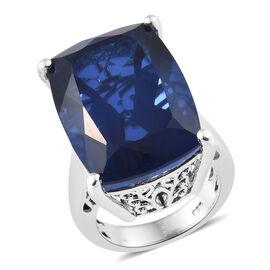 Ceylon Colour Quartz (Cush) Ring in Platinum Overlay Sterling Silver 28.250 Ct, Silver wt 7.47 Gms