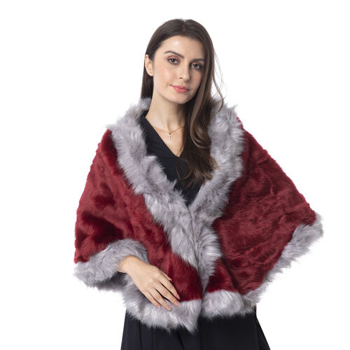 Wine Red Colour With Dark Grey Edge Faux Fur Wrap (Size 160x55 Cm)