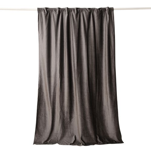 Luxury Edition - Extremely Soft Short Pile Panel Curtain with Hidden Loops in Dark Grey Colour (Size