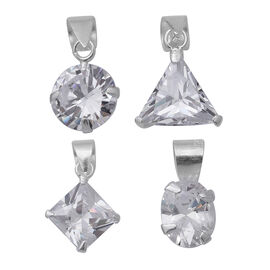 ELANZA Set Of 5 Simulated Diamond Pendant with Chain (Size 18) in Sterling Silver