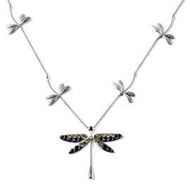 LucyQ Dragonfly Collection - Peridot, Amethyst and Freshwater Pearl Necklace (Size 26/28/30) in Rhod