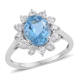 9K White Gold AA Swiss Blue Topaz (Ovl 9x7 mm), Natural Cambodian Zircon Floral Ring 2.850 Ct.
