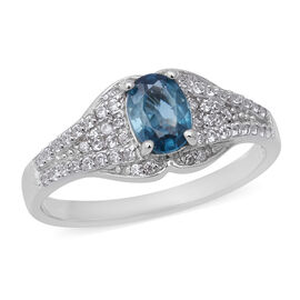 Blue and White Zircon Cluster Ring in Rhodium Plated Sterling Silver