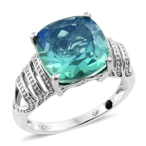 GP Peacock Quartz (Cush), Kanchanaburi Blue Sapphire Ring in Platinum Overlay Sterling Silver 7.000 Ct.