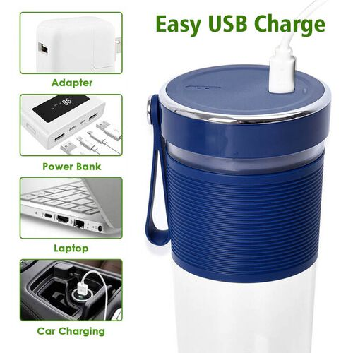 Rechargeable and Portable 350 ml Juicer Blender with Three Blades - Navy