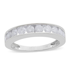 9K White Gold SGL Certified Diamond (I3/G-H) Half Eternity Band Ring 1.00 Ct.