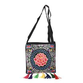 Embroidered Flower Pattern Tote Bag with Colorful Tassels and Shoulder Strap (Size 22x22+9 Cm) - Mul