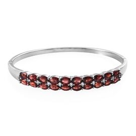 11.50 Ct Mozambique Garnet and White Topaz Stacker Bangle in Stainless Steel 7.5 Inch
