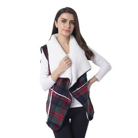 Sherpa Lined - Green and Red Colour Plaid Pattern Gilet (Size 70x47 Cm)