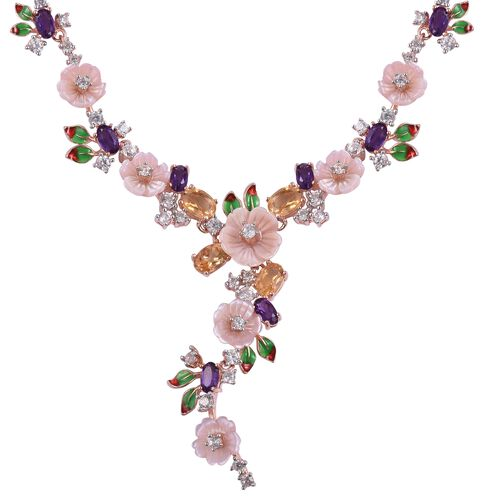 JARDIN COLLECTION - Pink Mother of Pearl (10mm) and Multi Gemstones Necklace (Size 18 with 2 Extender) in Rose Gold and Rhodium with Enameled Overlay Sterling Silver, Silver wt. 19.00 Gms
