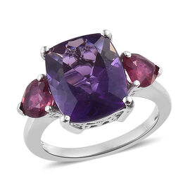6 Ct Amethyst and African Ruby Trilogy Design Ring in Platinum Plated Sterling Silver