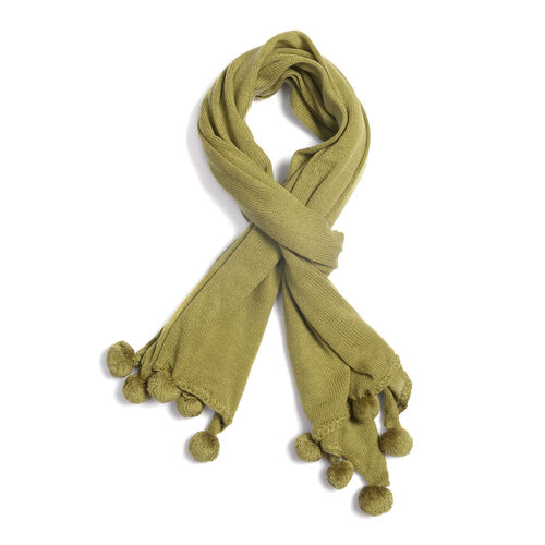 Solid Knit Scarf with Pom Poms (Size 178x80 Cm) - Colour Green