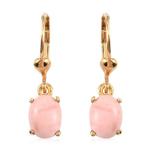 Oregon Sunrise Peach Opal Lever Back Earrings in 14K Gold Over Sterling Silver 1.75 Ct.
