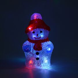 Snowman Decorative Lamp with Multicolour Light (Size 22x10.5 Cm) (3xAA Battery not Included) - Red a