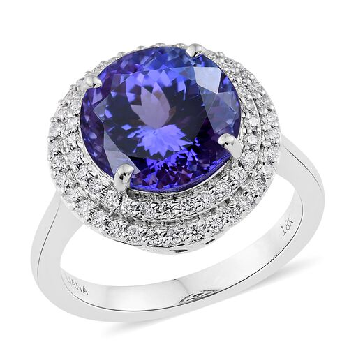 ILIANA 18K White Gold 7.15 Ct AAA Tanzanite Halo Ring with Two Row Diamond SI G-H