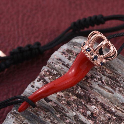 GP Kanchanaburi Blue Sapphire (Rnd) Adjustable Bracelet in Rose Gold Overlay Sterling Silver
