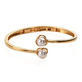 J Francis - Crystal From Swarovski Crystal White Pearl Bangle (Size 7.5) in 18K Yellow Gold Plated