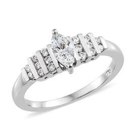 J Francis Platinum Overlay Sterling Silver (Mrq) Ring Made with SWAROVSKI ZIRCONIA