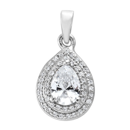 J Francis - Platinum Overlay Sterling Silver (Pear and Rnd) Pendant  Made with SWAROVSKI ZIRCONIA