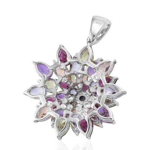 Rhodolite Garnet (Pear), Hebei Peridot and Multi Gemstone Cluster Pendant in Platinum Overlay Sterling Silver 12.00 Ct, Silver wt 7.90 Gms