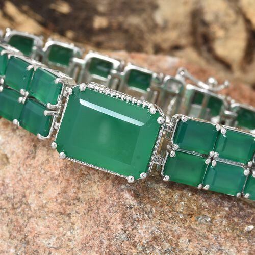 Verde Onyx (Oct 16x12 MM) Bracelet (Size 7.5) in Platinum Overlay Sterling Silver 48.000 Ct. Silver wt 25.70 Gms.