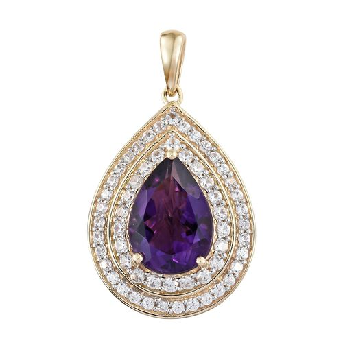 Limited Edition- 9K Yellow Gold AAA Zambian Amethyst (Pear 4.25 Ct), Natural Cambodian Zircon Drop Pendant 5.500 Ct.