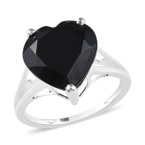 7 Carat Boi Ploi Black Spinel Heart Solitaire Ring in Silver