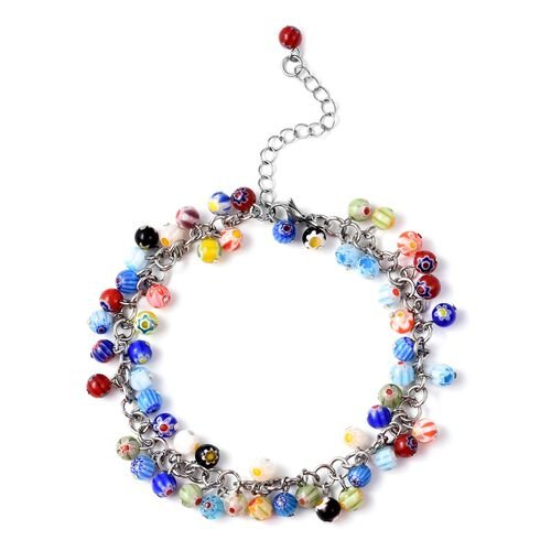 Multi Colour Murano Style Glass (Rnd) Beads Anklet (Size 9 with 2 inch Extender and Lobster Lock) in
