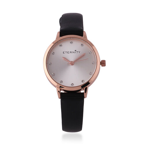 ETERNITY Swarovski Studded Sunray Dial Ladies Watch in Rose Gold Tone with Genuine Leather Black Str