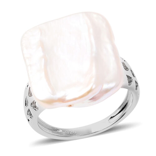 Baroque Purple Pearl Solitaire Ring in Rhodium Plated Sterling Silver