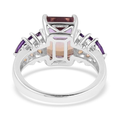 Natural Anahi Ametrine (Oct 10x8 mm), Amethyst, Citrine and Natural White Cambodian Zircon Ring in Rhodium Overlay Sterling Silver 5.490 Ct.