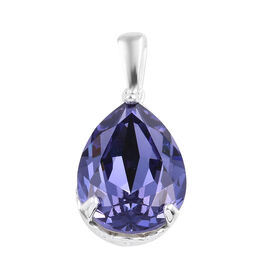 Tanzanite Colour Swarovski Crystal Solitaire Pendant  in Sterling Silver