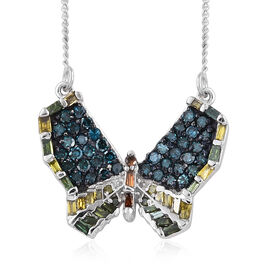 Multi Colour Diamond (Rnd) Butterfly Necklace with Chain (Size 18) in Platinum Overlay Sterling Silv