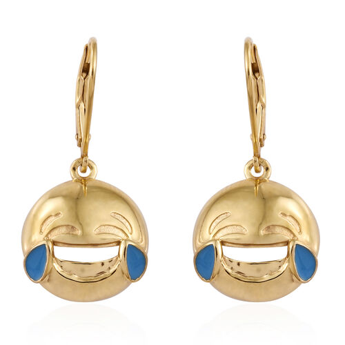 Face with Tears of Joy Smiley Silver Lever Back Earrings in Gold Overlay