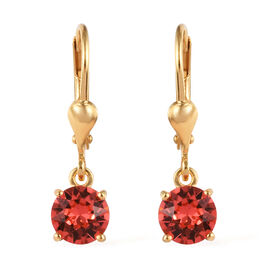 J Francis - Crystal from Swarovski Padparasha Crystal (Rnd) Lever Back Earrings in 14K Yellow Gold O