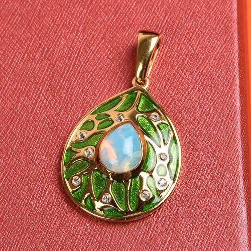 Ethiopian Opal and Natural Cambodian Zircon Enamelled Pendant in 14K Gold Overlay Sterling Silver 1.25 Ct.