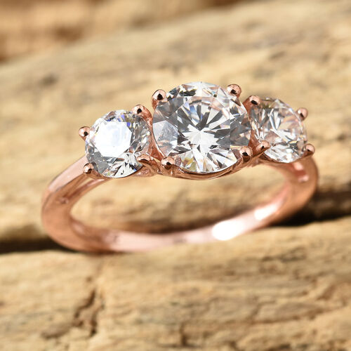J Francis - Rose Gold Overlay Sterling Silver (Rnd 7 mm) Three Stone Ring Made With SWAROVSKI ZIRCONIA