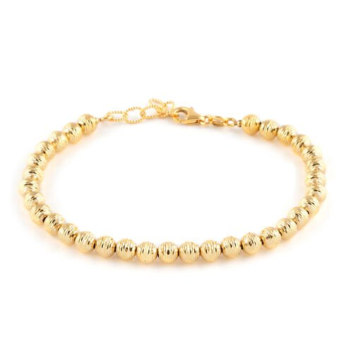 Italian Made - 9K Yellow Gold Diamond Cut Beads Bracelet (Size 7 with 1 Inch Extender). 4.37gms