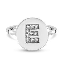 White Diamond Initial-E Ring in Platinum Overlay Sterling