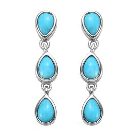 1.99 Ct Arizona Sleeping Beauty Turquoise Dangle Earrings in Platinum Plated Sterling Silver