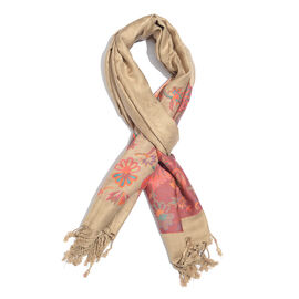 Golden, Orange and Multi Colour Floral and Leaves Pattern Scarf with Tassels (Size 200X70 Cm)