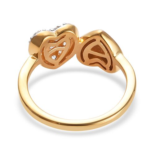 J Francis - Platinum, Yellow and Rose Gold Overlay Sterling Silver (Rnd) Double Heart Ring Made with SWAROVSKI ZIRCONIA