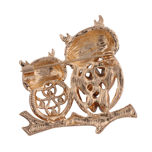 Set of 2 - Multi Colour Austrian Crystal and Simulated Amethyst Owl Brooch or Pendant in Yellow Gold Tone