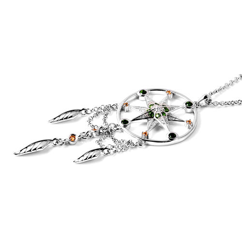 LucyQ Russian Diopside (Rnd), Natural Cambodian Zircon and Citrine Dream Catcher Pendant with Chain (Size 16 with 4 inch Extender) in Rhodium Overlay Sterling Silver