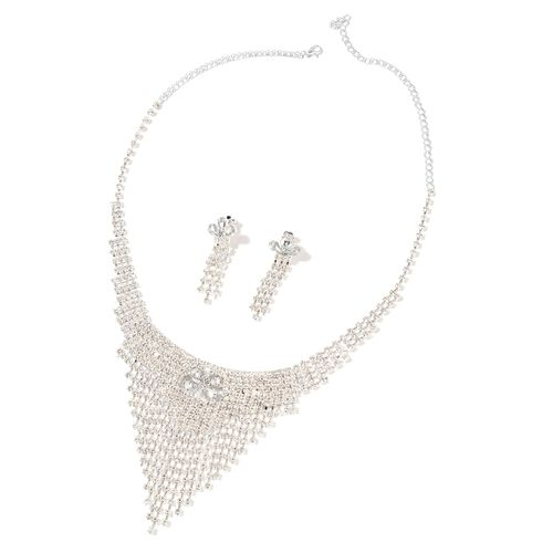 White Austrian Crystal, Simulated White Diamond Necklace (Size 16 with 6 Inch Extender) and Earrings (with Push Back) in Silver Tone